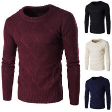 Mens Stylish Smart Slim Solid Color Round Neck Warm Thicken Knitted Sweater Tops