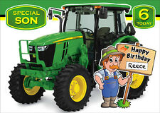 JOHN DEERE TRACTOR PERSONALISED BIRTHDAY CARD -POLICE CAR, DIGGER -LARGE A5 SIZE