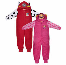 PAW Patrol Hooded Fleece Onesie Marshall Skye Red Pink Pyjamas Girls Boys PJs