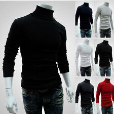New Turtle Neck Solid Turtleneck Knit Sweaters Mens Thermal Cotton Stretch Shirt