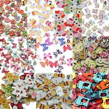 100/50pcs Mixed Colored Drawing Wooden Buttons 2 Hole for Sewing Scrapbooking