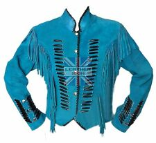 Men's Native Indian Western Suede Leather Jacket with Fringes and bone ALL SIZE