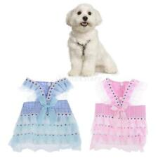 Pet Dog Dress Costume Tutu Skirt Grid Paillette Princess Layered Lace Clothes