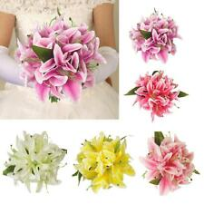 Home Party Floral Lily Bouquet Artificial Bridal Silk Flowers Decor 5 Colors