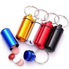Mini Waterproof Airtight Pill Fob Case Pill Holder ID Tag Notes Box Keychain -8C