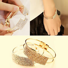 1Pcs Gold Silver Plated Bangle Elegant Jewelry Crystal Cuff Bracelet Women Gift