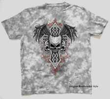 T Shirt Batik grey Gothic Biker- & tattoo motif Model Skulls Cross Wings