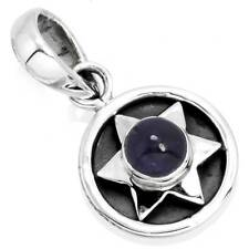 Solid 925 Sterling Silver Unique Jewelry Natural Iolite Gemstone Pendant yn47561