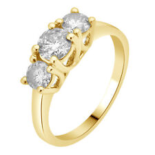 Ladies 14K Yellow Gold 3 Stone Genuine Diamond Engagement Anniversary Ring 1.5Ct