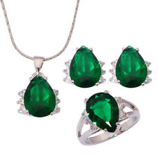 Green Quartz CZ Silver for Women Necklace Pendant Earring Ring Jewelry Set NT161