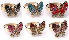 Ladies Gold Plated Butterfly Ring Clear + Coloured Rhinestones Adjustable Size