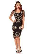 Rosemary Vintage Inspired Flapper Dress Black Gold Plus size Bridesmaids