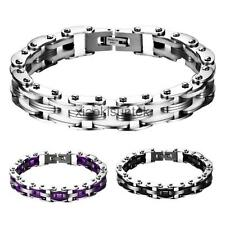Mens Punk Style Stainless Steel Bicycle Chain Hand Chain Charm Bangle Bracelet