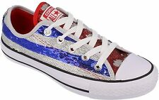 Converse Sport Women Shiny Silver Blue Red Shoes Sneakers Trainers All Sizes~