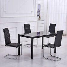 Black Glass Dining Room Table and 4 Faux Leather Chairs Set BLACK /WHITE Seaters
