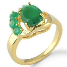 Natural Green Onyx Gemstone Women Jewelry Gold Plated Ring Size Q kz32755
