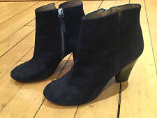 NEW WHISTLES UK 6 39 Navy Suede Ankle Boot Luxe Heeled