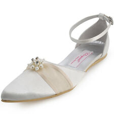 Ivory Pointed Toe Flats Heel Wedding Bridal Shoes Ankle Strap Satin Pumps Size 8