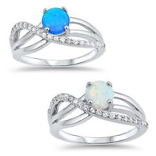 Round Blue or White Opal CZ Infinity Love Ring - Sterling Silver