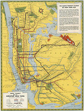 1939 Rapid Transit Map of Greater New York Vintage Wall Art Poster Print Decor