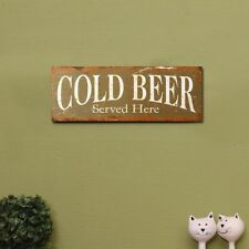 "Adeco Wood Sign/Plaque ""Cold Beer Served Here"" Green White Home Decor - SP0224"