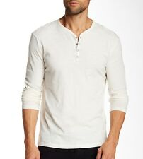 John Varvatos Star USA Men's Long Sleeve 4 Snap Henley Shirt Ivory $118 msrp NWT