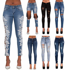 Womens Ripped Knee Skinny Jeans Faded Slim Fit Ladies Denim Size 6 8 10 12 14 16