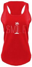 Smile Graphic Tee Palm Tree Ladies Tank Top Beach Bum Happy Ocean Graphic Z6