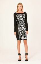 Hale Bob Black Long Sleeve Embroidered Sheath Dress XXS XS S NWT $135 3DTC6240