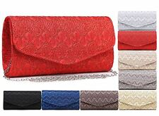 LADIES SIMPLE ELEGANT LACE CLUTCH DESIGNER ENVELOPE SHOULDER BAG EVENING QUALITY
