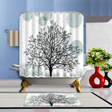 Tree Scenery Bathroom Mat Waterproof Polyester Fabric Shower Curtain 12 Hook 219