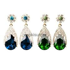 Chic Evening Party Cocktail Earrings Dangle Shiny Crystal Teardrop Stunning Stud