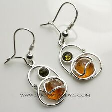 GENUINE AUTHENTIC BALTIC AMBER 925 STERLING SILVER EARRINGS