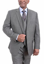 Tasso Elba Classic Fit Gray Textured Two Button Three Piece Wool Suit