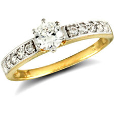 Jewelco London 9ct Gold CZ Solitaire Shoulder Set Engagement Ring