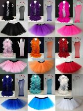 TUTU, FEATHER BOA & LONG FISHNET GLOVES : DRESS UP, HEN PARTY, CLUBBING, COSTUME