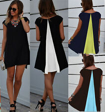 Womens Summer Chiffon Casual Party Short Mini Loose Shift Dress Baggy Top Blouse