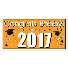 Class of 2017 Personalized Graduation Banner Orange Party Backdrop
