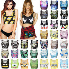 Fashion Women Summer Sleeveless Vest Tee Blouse Casual Crop Top 3D Print T-Shirt