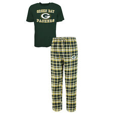 Green Bay Packers Men's Pajamas Tiebreaker NFL Sleep 2-pc Set Shirt Plaid Pants