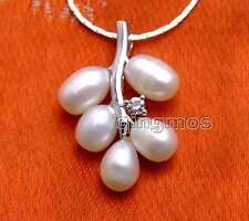 """6-7mm White Rice Pearl &18*28mm Grape Pendant free 17"""" Silver plated Chain-n6235"""