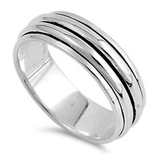 Men 8MM 925 Sterling Silver Plain Two Row Spinner Ring Band / Free Gift Box