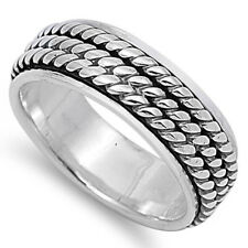 Men 7MM 925 Sterling Silver Three Braided Rope Spinner Ring Band / Free Gift Box