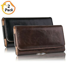2x Cell Phone iPhone Horizontal Carry Leather Pouch Case Cover Belt Clip Holster