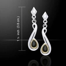 Beautiful Black Magic Swirl Silver and Gold Accent Earrings