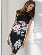 Womens Printed Cocktail Party Dress Knee Length Midi Floral Black White 8 10 12