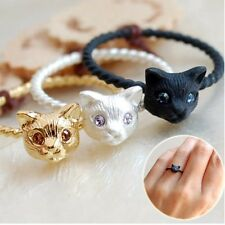 Silver Gold Black Plated Tiny Cat Kitten Face Cute Gemstone Ring in Gift Bag/Box