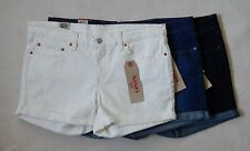 NEW Levis Womens Cuffed Rolled Denim Blue White Shorts Sizes 6 10 12 14 16