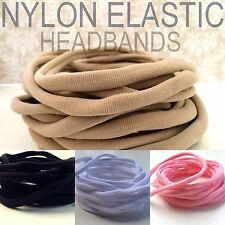 5 Nylon Elastic Headbands Stretch Child to Adult One Size Fits All 30-34 cm 8mm
