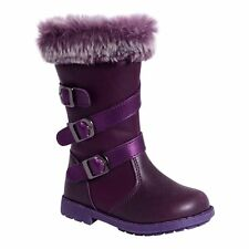 GIRLS TODDLERS KIDS CHILDREN'S BABIES PURPLE FAUX FUR ZIP UP FLAT BOOTS SHOES